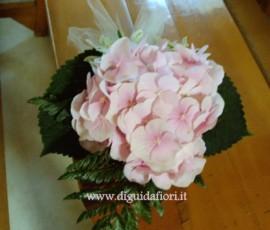 segnaposto con fiore di ortensia