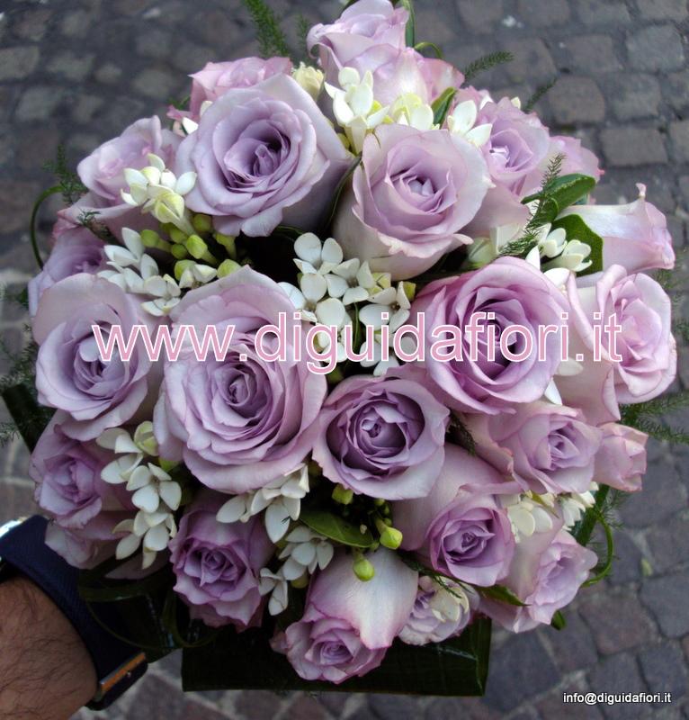 Bouquet Sposa Glicine.Bouquet Da Sposa Con Rose Glicine E Bouvardia Fiorista Roberto