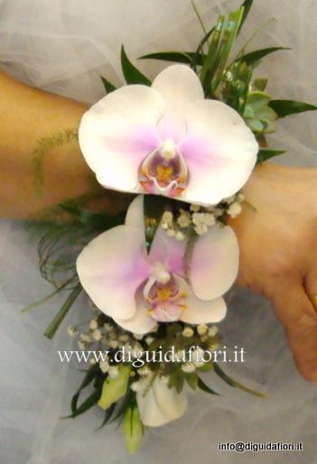 Bracciale per damigella con orchidee phalaenopsis