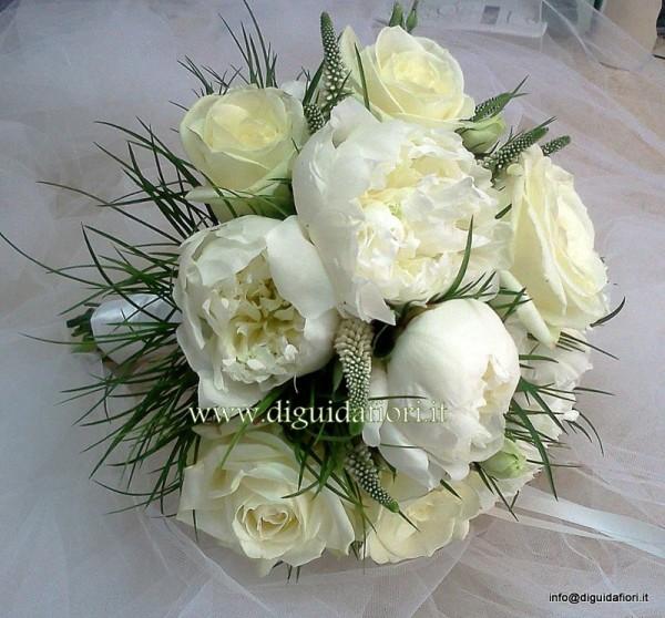 Popolare Bouquet da sposa con rose avalanche e peonie - Sposa Napoli  FC61