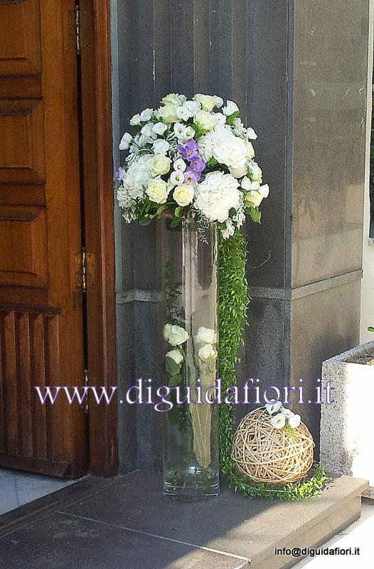 Composizione floreale in vaso di vetro – Matrimonio Napoli