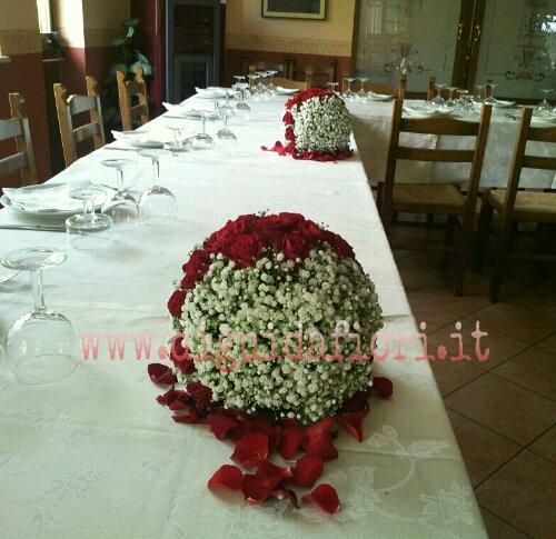 Sfere di nebbiolina con rose rosse addobbi floreali per for Addobbi per laurea