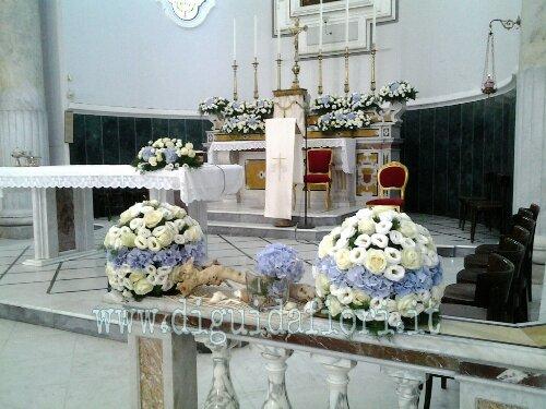 Addobbo floreale in tema marino – Matrimonio Chiesa Santa Maria del Popolo Torre del Greco