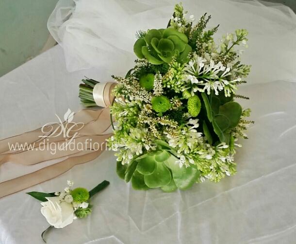 Bouquet da sposa con piante grasse