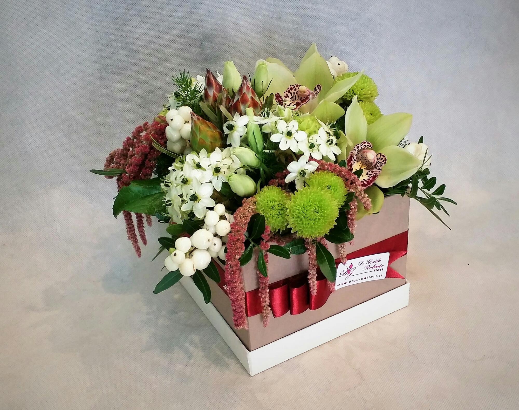 Fiori in scatola – verde e vinaccia