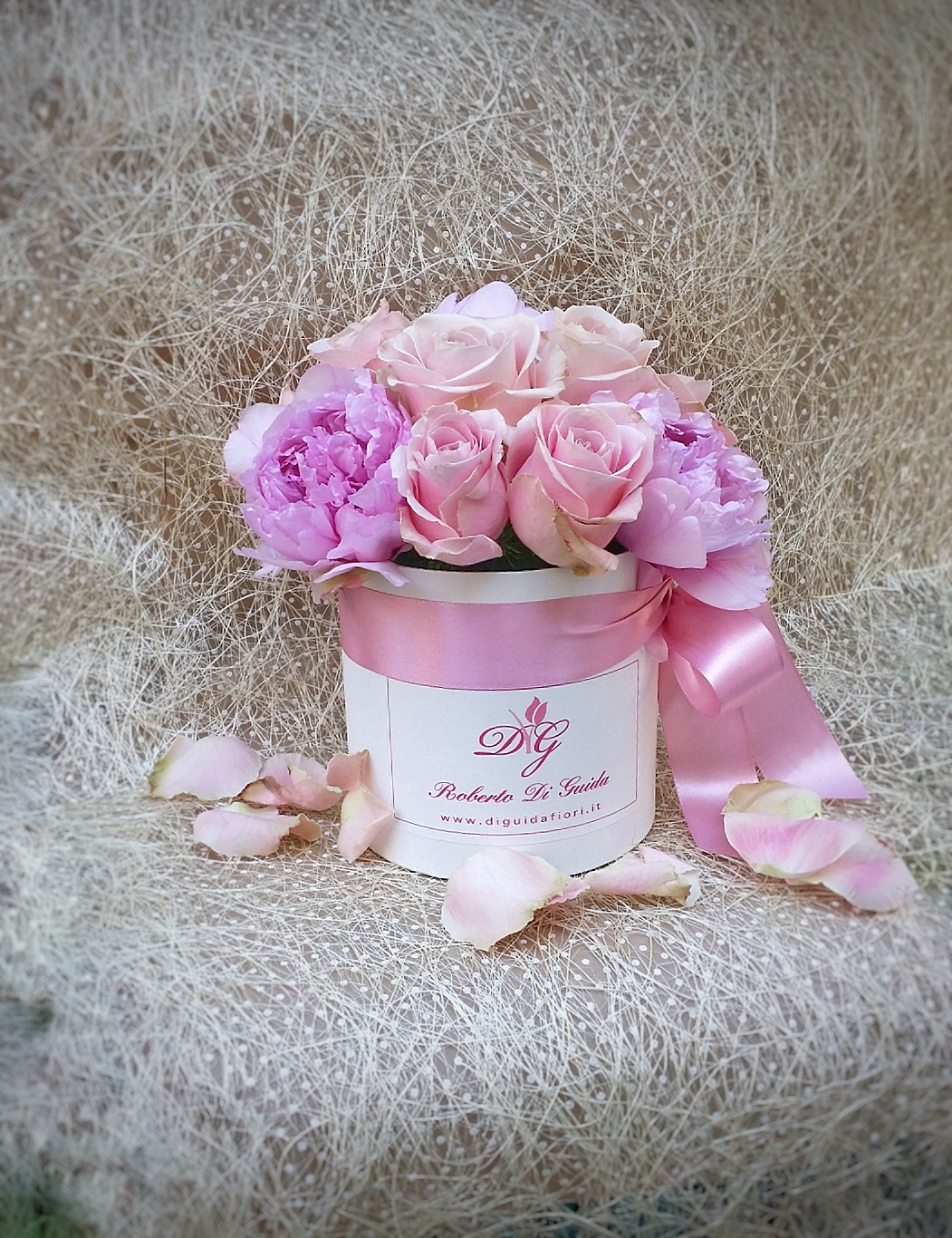 Rose e peonie in scatola – Roses and peonie in gift box