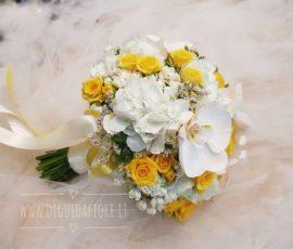 Bouquet da sposa bianco e giallo