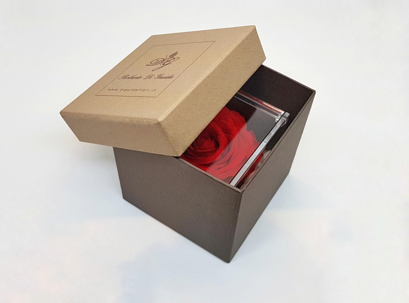 Rose stabilizzate in cubo di plexiglass